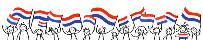 Cheering crowd of happy stick figures with Dutch national flags, smiling Netherlands supporters, sports fans. Isolated on white background Royalty Free Stock Images