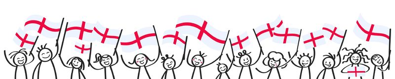 Cheering crowd of happy stick figures with English national flags, smiling England supporters, sports fans. Isolated on white background Royalty Free Stock Image