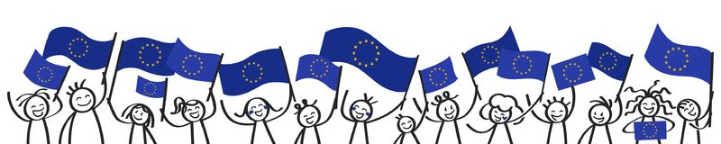 Cheering crowd of happy stick figures with EU flags, European Union supporters smiling and waving European flags. Isolated on white background Stock Photo