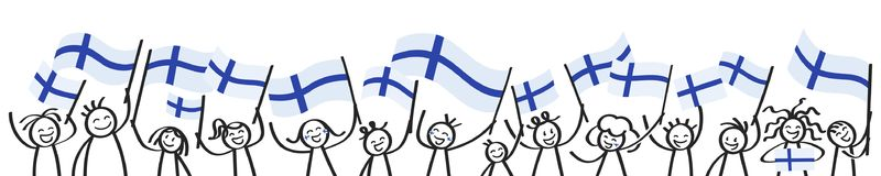Cheering crowd of happy stick figures with Finnish national flags, smiling Finland supporters, sports fans. Isolated on white background Royalty Free Stock Photo
