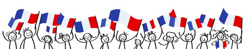 Cheering crowd of happy stick figures with French national flags, France supporters smiling and waving tricolor flags. Isolated on white background Stock Image