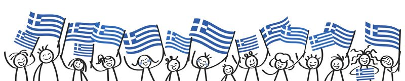 Cheering crowd of happy stick figures with Greek national flags, smiling Greece supporters, sports fans. Isolated on white background Royalty Free Stock Photos