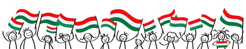 Cheering crowd of happy stick figures with Hungarian national flags, smiling Hungary supporters, sports fans. Isolated on white background Royalty Free Stock Photography
