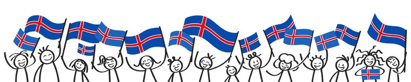 Cheering crowd of happy stick figures with Icelandic national flags, smiling Iceland supporters, sports fans. Isolated on white background Stock Photography