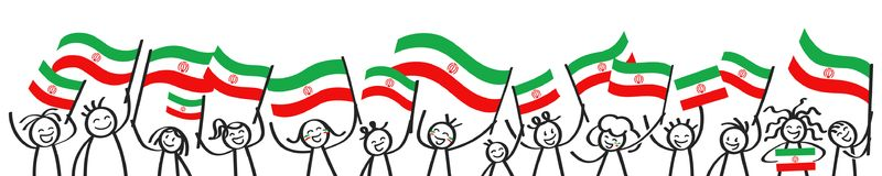Cheering crowd of happy stick figures with Iranian national flags, smiling Iran supporters, sports fans. Isolated on white background Stock Photos