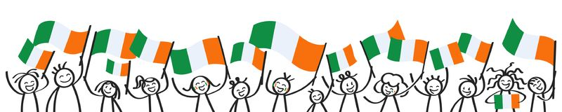 Cheering crowd of happy stick figures with Irish national flags, smiling Ireland supporters, sports fans. Isolated on white background Royalty Free Stock Photography