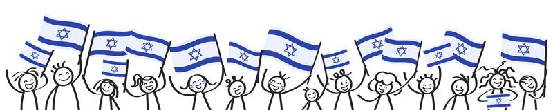 Cheering crowd of happy stick figures with Israeli national flags, smiling Israel supporters, sports fans. Isolated on white background Royalty Free Stock Photo