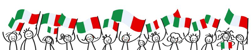 Cheering crowd of happy stick figures with Italian national flags, smiling Italy supporters, sports fans. Isolated on white background Royalty Free Stock Image