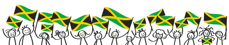 Cheering crowd of happy stick figures with Jamaican national flags, smiling Jamaica supporters, sports fans. Isolated on white background royalty free illustration
