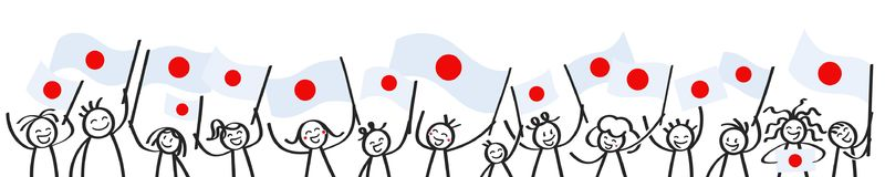 Cheering crowd of happy stick figures with Japanese national flags, smiling Japan supporters, sports fans. Isolated on white background Royalty Free Stock Image