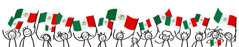 Cheering crowd of happy stick figures with Mexican national flags, smiling Mexico supporters, sports fans. Isolated on white background Royalty Free Stock Photo