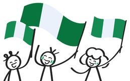 Cheering crowd of happy stick figures with Nigerian national flags, smiling Nigeria supporters, sports fans. Isolated on white background Royalty Free Stock Image