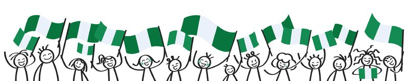 Cheering crowd of happy stick figures with Nigerian national flags, smiling Nigeria supporters, sports fans. Isolated on white background Stock Photo