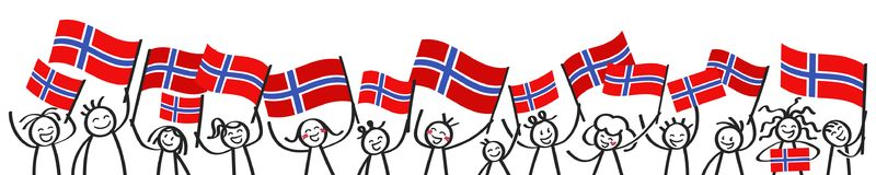 Cheering crowd of happy stick figures with Norwegian national flags, smiling Norway supporters, sports fans. Isolated on white background royalty free illustration