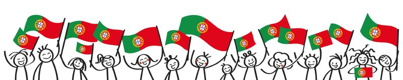 Cheering crowd of happy stick figures with Portuguese national flags, smiling Portugal supporters, sports fans Royalty Free Stock Images