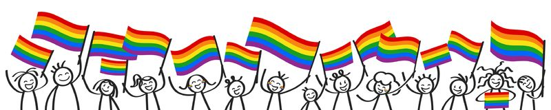 Cheering crowd of happy stick figures with rainbow flags, LGBTQ supporters smiling and waving colorful flags. Isolated on white background royalty free illustration