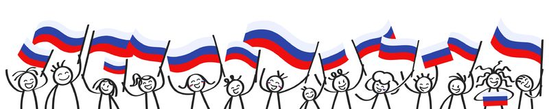 Cheering crowd of happy stick figures with Russian national flags, smiling Russia supporters, sports fans. Isolated on white background Royalty Free Stock Images