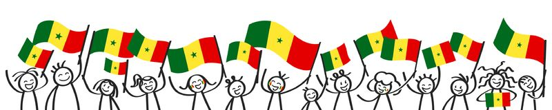 Cheering crowd of happy stick figures with Senegalese national flags, smiling Senegal supporters, sports fans. Isolated on white background Royalty Free Stock Image