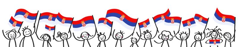 Cheering crowd of happy stick figures with Serbian national flags, smiling Serbia supporters, sports fans. Isolated on white background Stock Photography