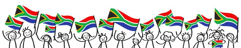Cheering crowd of happy stick figures with South African national flags, smiling South Africa supporters, sports fans. Isolated on white background Stock Images