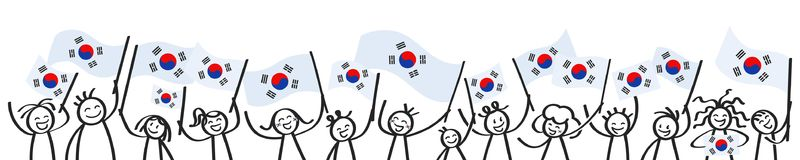 Cheering crowd of happy stick figures with South Korean national flags, smiling South Korea supporters, sports fans. Isolated on white background Stock Image