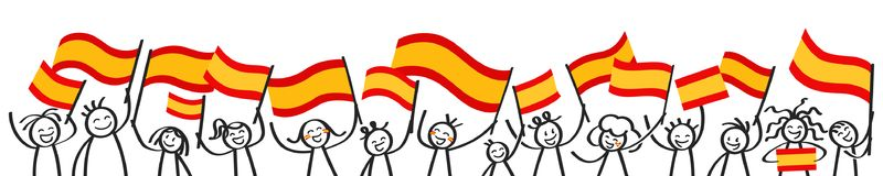 Cheering crowd of happy stick figures with Spanish national flags, smiling Spain supporters, sports fans. Isolated on white background Royalty Free Stock Photo