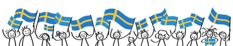 Cheering crowd of happy stick figures with Swedish national flags, smiling Sweden supporters, sports fans. Isolated on white background Royalty Free Stock Images