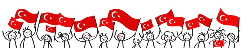 Cheering crowd of happy stick figures with Turkish national flags, smiling Turkey supporters, sports fans. Isolated on white background Stock Photo