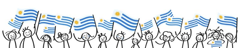 Cheering crowd of happy stick figures with Uruguayan national flags, smiling Uruguay supporters, sports fans. Isolated on white background Stock Photo