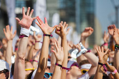 Cheering crowd. Crowd of people at a sport event raise the hands Royalty Free Stock Image
