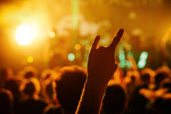 Cheering crowd at a rock concert. Hand with Sign of the horns Stock Photo