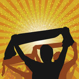 Cheering Crowd Vector. Cheering Crowd with Rays Background Vector Royalty Free Stock Image
