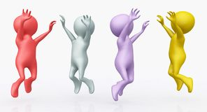 Cheering 3D figures. Computer generated 3D illustration with four cheering 3D figures against a white background royalty free illustration