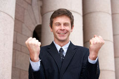 Cheering do homem Imagens de Stock