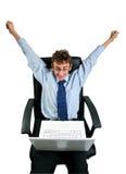 Cheering do homem de negócios Imagem de Stock