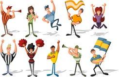 Cheering dos aficionados desportivos e dos suportes Imagem de Stock