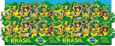 Cheering dos fãs de futebol de Brasil Imagens de Stock Royalty Free
