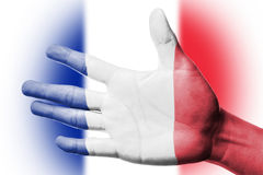 Cheering fan with Painting France national flag with your hand Royalty Free Stock Photography