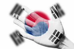 Cheering fan with Painting Korea national flag with your hand Stock Photo