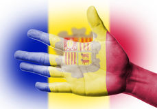 Cheering fan with Painting national Andorra flag Royalty Free Stock Images