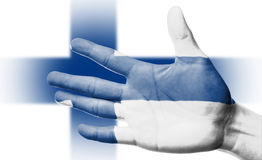Cheering fan with Painting national Finland flag Royalty Free Stock Photo