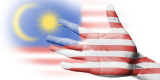 Cheering fan with Painting national Malaysia flag Royalty Free Stock Image
