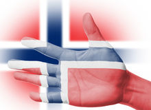 Cheering fan with Painting national Norway flag Royalty Free Stock Images