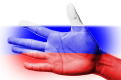 Cheering fan with Painting national Russia flag Royalty Free Stock Photos