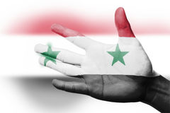 Cheering fan with Painting national Syria flag Royalty Free Stock Photography
