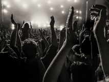 Cheering fans at a concert royalty free stock images