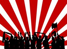 Cheering fans with red and white background. Many Cheering fans with red and white background Royalty Free Stock Photography