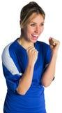 Cheering football fan in blue jersey Stock Photo