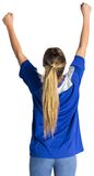 Cheering football fan in blue jersey Stock Photography