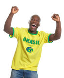 Cheering football fan from Brazil Royalty Free Stock Photography